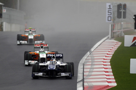Rubens Barrichello leads the Force Indias in Korea