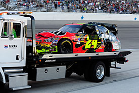 Jeff Gordon's wrecked car after the collision with Jeff Burton, Texas, 2010
