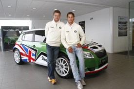 Ola Floene and Andreas Mikkelsen with the Skoda UK Fabia