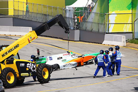 Tonio Liuzzi's crashed car at Interlagos