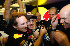 Christian Horner celebrates with Sebastian Vettel