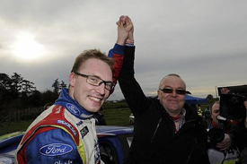 Jari-Matti Latvala celebrates with his father after Rally GB