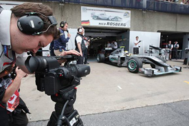 Nico Rosberg is filmed leaving the Mercedes garage
