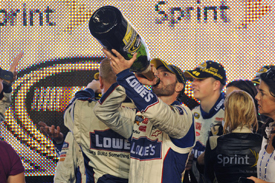 Jimmie Johnson celebrates his fifth title