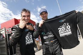 Andrea Bertolini and Michael Bartels celebrate the GT1 title
