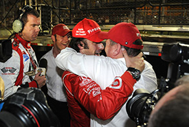 Chip Ganassi celebrates with his charge Dario Franchitti