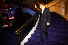 Vettel made a grand entrance down the stairs into the Great Room