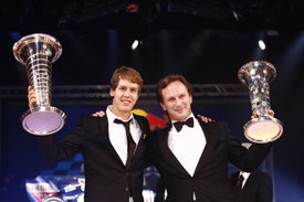 Sebastian Vettel and Christian Horner at the FIA Gala