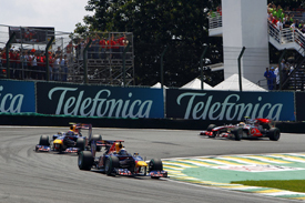 Sebastian Vettel leads Mark Webber in Brazil