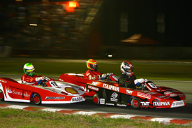 Lucas di Grassi, Antonio Pizzonia and Felipe Massa battle in karts