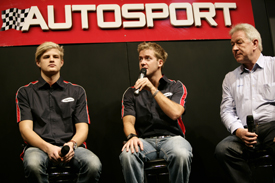 Marcus Ericsson, Sam Bird and Paul Jackson on stage at AUTOSPORT International