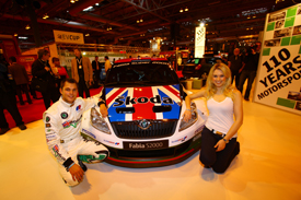 Andreas Mikkelsen and the Skoda UK Fabia at AUTOSPORT International