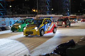 Fernando Alonso leads the Wrooom ice race