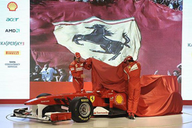 Fernando Alonso and Felipe Massa unveil the 2011 Ferrari