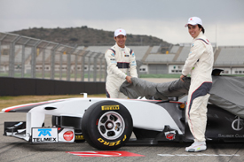 Sergio Perez and Kamui Kobayashi unveil the 2011 Sauber