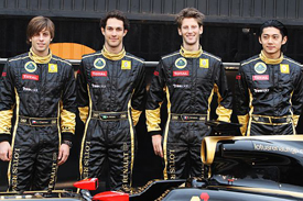 Jan Charouz, Bruno Senna, Romain Grosjean and Ho-Pin Tung at the Renault launch