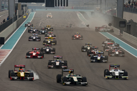 Jules Bianchi takes the lead at the start of the Abu Dhabi GP2 Asia feature race