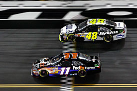 Denny Hamlin and Jimmie Johnson, Daytona, 2011