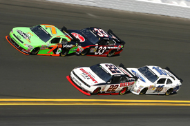 Danica Patrick leads a Nationwide pack at Daytona