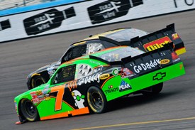 Danica Patrick races with Michael Annett in the Phoenix Nationwide event