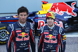 Red Bull drivers with new Infiniti logos
