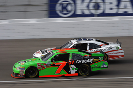Danica Patroc races with Trevor Bayne in the Las Vegas NASCAR Nationwide event