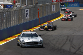 The safety car leads the field in Valencia in 2010