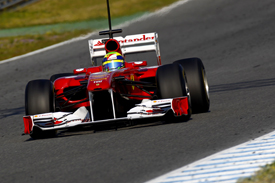 Felipe Massa activates the Ferrari's moveable wing in testing
