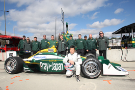 Takuma Sato and the KV team at Barber