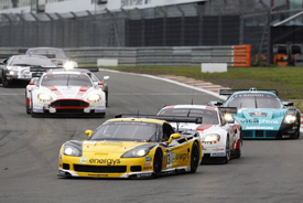 Phoenix Corvette leads a GT1 pack at the Nurburgring in 2010