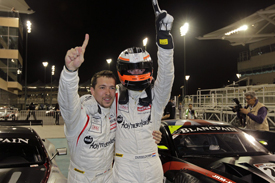 Clivio Piccione and Stef Dusseldorp celebrate Abu Dhabi victory