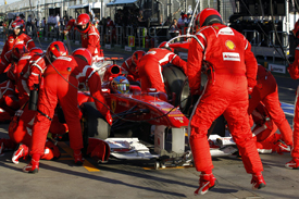 Fernando Alonso pits in Melbourne
