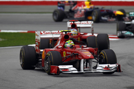 Felipe Massa and Fernando Alonso, Ferrari, Sepang 2011
