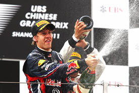 Sebastian Vettel on the Shanghai podium