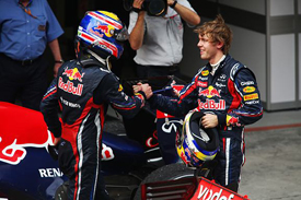 Mark Webber and Sebastian Vettel after the Chinese Grand Prix
