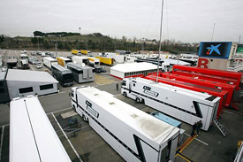 F1 trucks in the Catalunya paddock
