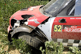 Kris Meeke's damaged Mini in Sardinia
