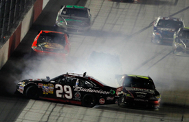 Kevin Harvick and Kyle Busch collide at Darlington