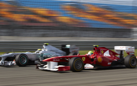 Felipe Massa races with Nico Rosberg in Turkey