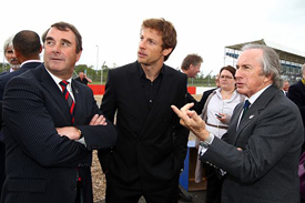 Nigel Mansell, Jenson Button and Jackie Stewart
