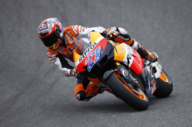 Casey Stoner tests the 2012 Honda