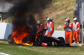 Nick Heidfeld's Renault catches fire at Catalunya