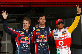 Sebastian Vettel, Mark Webber and Lewis Hamilton after Catalunya qualifying