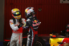 Lewis Hamilton and Sebastian Vettel in Catalunya parc ferme