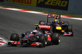 Jenson Button leads Mark Webber in Spain