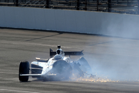 Patrick Carpentier crashes in Indy 500 practice