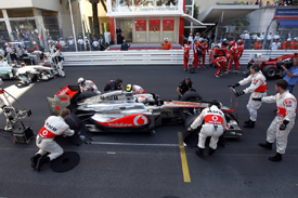 Jenson Button prepares for the restart in Monaco