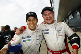 Alex Muller and Tomas Enge celebrate Silverstone victory