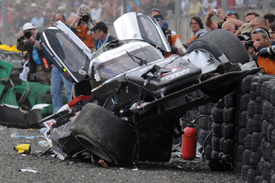 Wreckage from Allan McNish's massive Le Mans crash