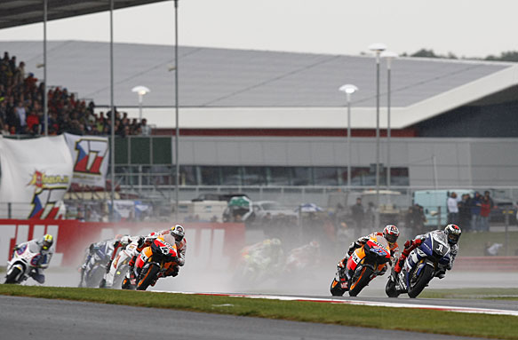 The start of the 2011 British MotoGP